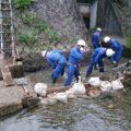 2020年9月6日(日)松ケ崎消防分団は台風に備え泉川水系前川と井出ヶ鼻水門で水利調査(警防)と水災訓練を行いました。